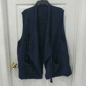 Torrid Navy Drape Front Utility Vest